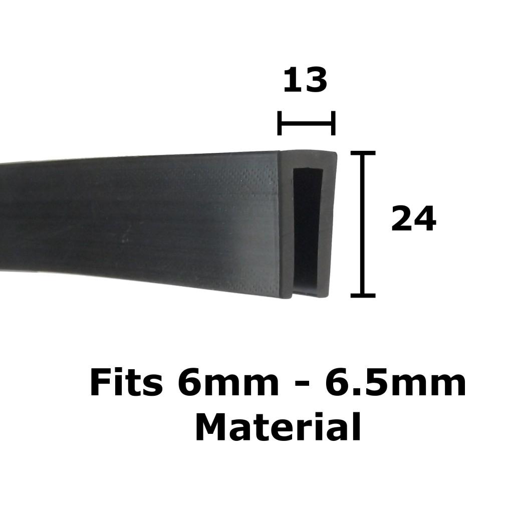 13mm x 24mm Rubber U Channel