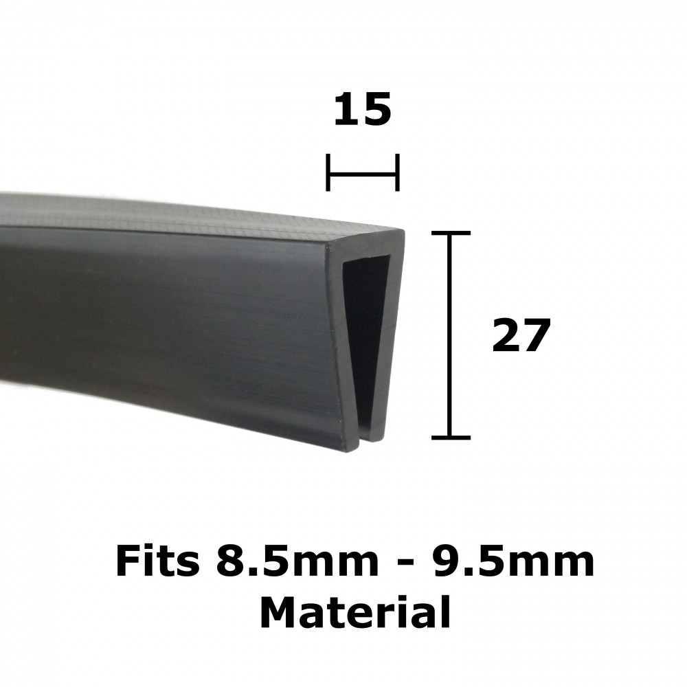 Rubber U Channel 15mm X 27mm From Edge Trims Webstore