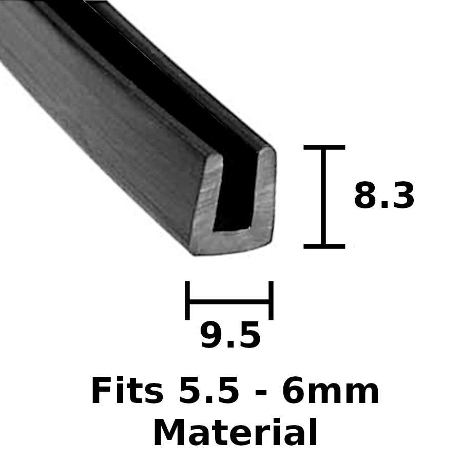 9.5mm x 8.3mm Rubber U Channel