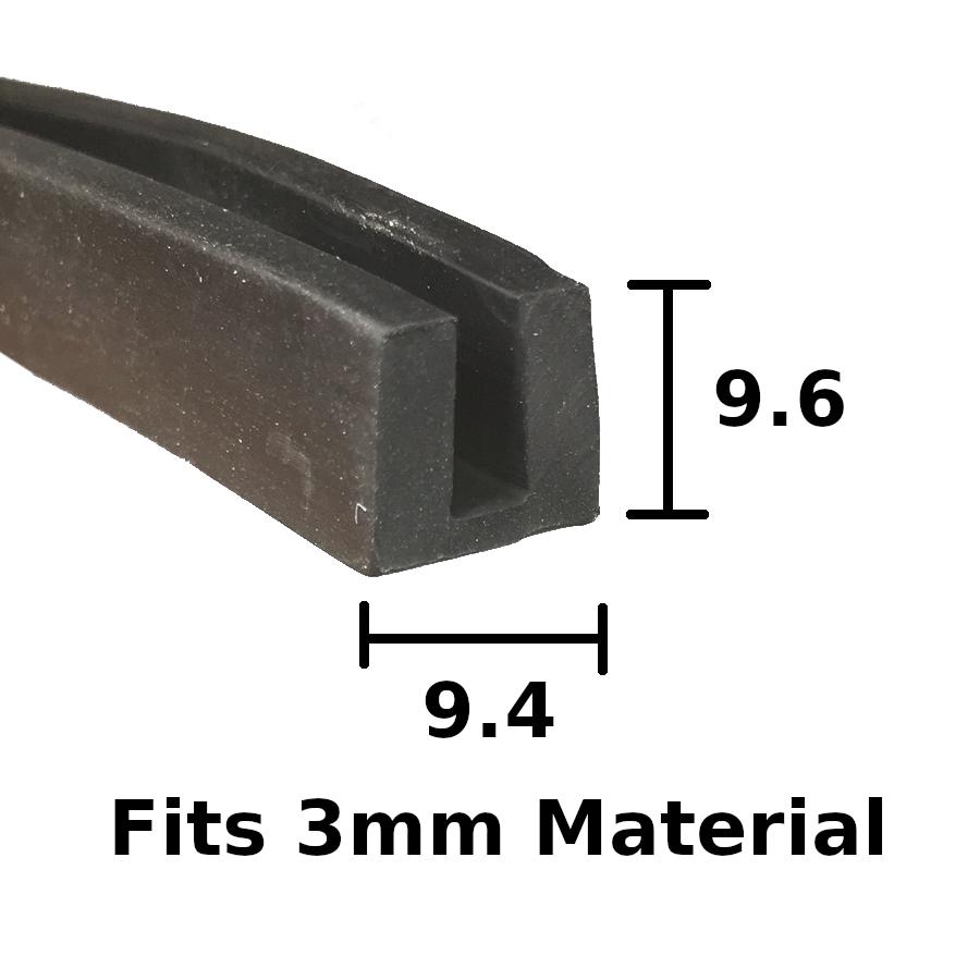 9.6mm x 9.4mm Rubber U Channel