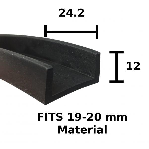 24.2mm x 12mm Rubber U Channel