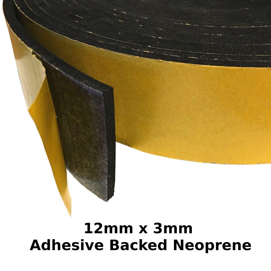 Self Adhesive Expanded Neoprene 12mm x 3mm Strip