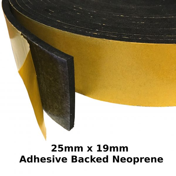Self Adhesive Expanded Neoprene 25mm x 19mm Strip