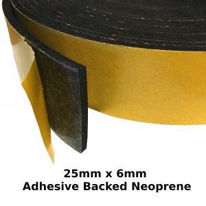 Self Adhesive Expanded Neoprene 25mm x 6mm Strip